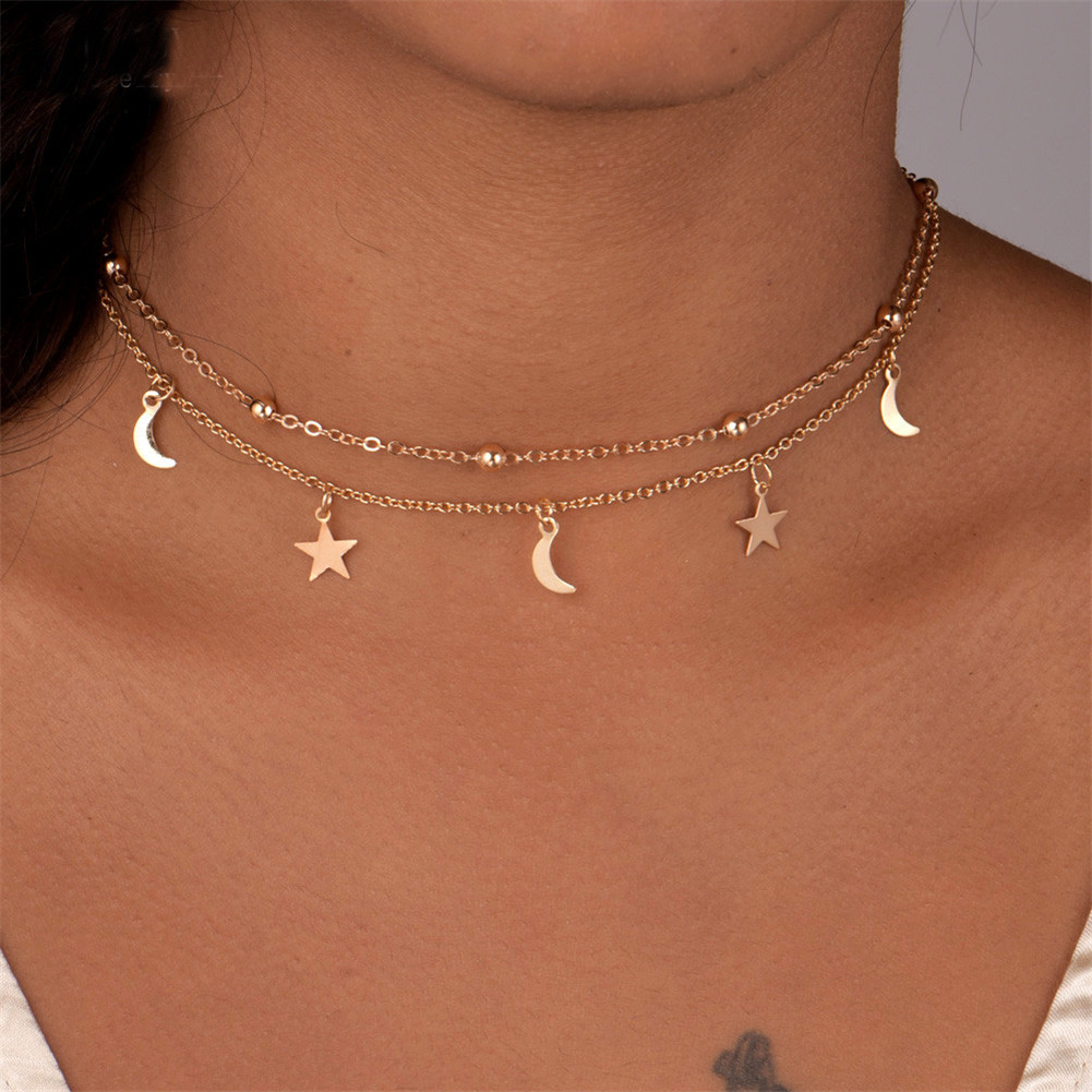 Fashion Multilayer Stainless Steel Endant Women Gold Silver Color Beads Moon Star Horn Crescent Double Chain Choker Necklaces