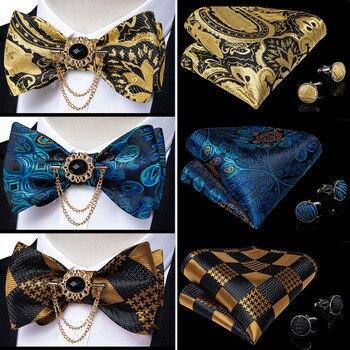 3 Pack Bow Tie Handkerchief Set For Men Yellow Gold Blue Paisley Butterfly Knot Tuxedo Formal Wedding Cravat Men Gift DiBanGu