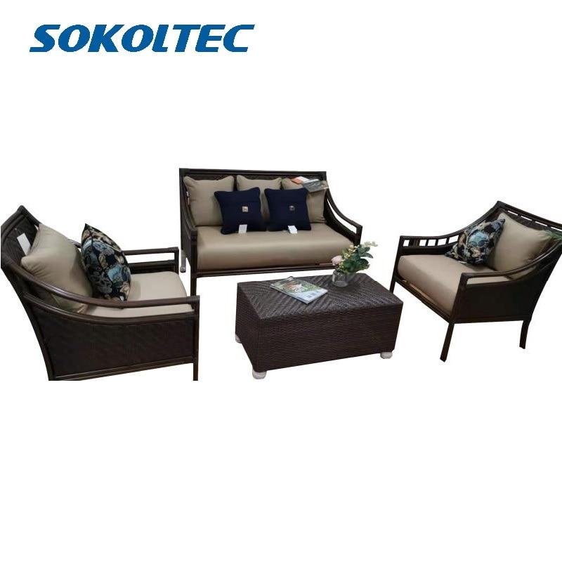 SOKOLTEC sofa High end outdoor sectional tables teak frame patio waterproof garden furniture rattan wicker table sets OP2450