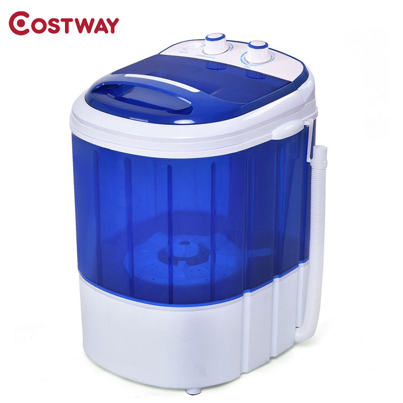 COSTWAY Mini Electric Compact Portable Durable Laundry Washing Machine Washer Single Tub with Spin Basket image