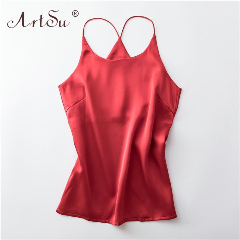 ArtSu S-XXXL Plus Size Spaghetti Strap Top Women Halter Basic Cami Sleeveless Satin Silk Tank Tops Summer Camisole 2020 Crop Top 1