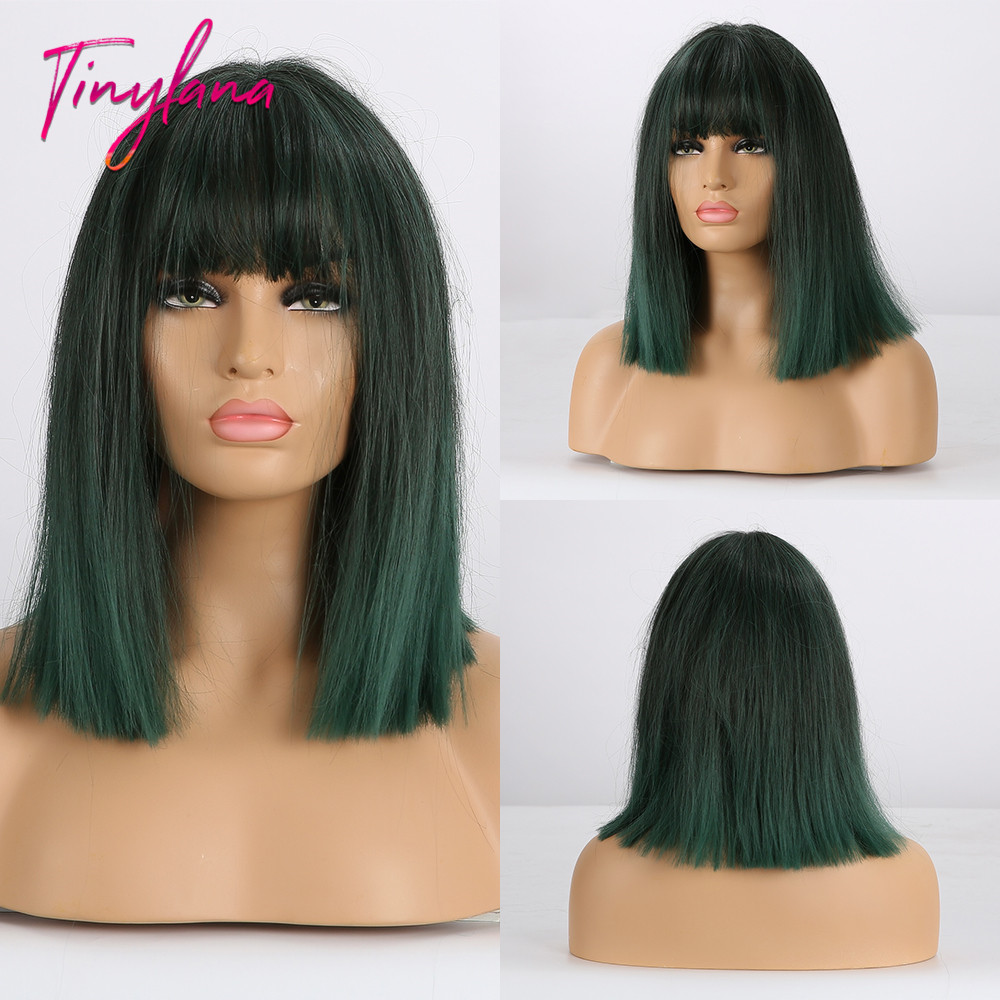 TINY LANA Short Straight BOB Wigs Womens Brown Black Green Natural Hair Wigs Female Synthetic Heat Resistant Fiber