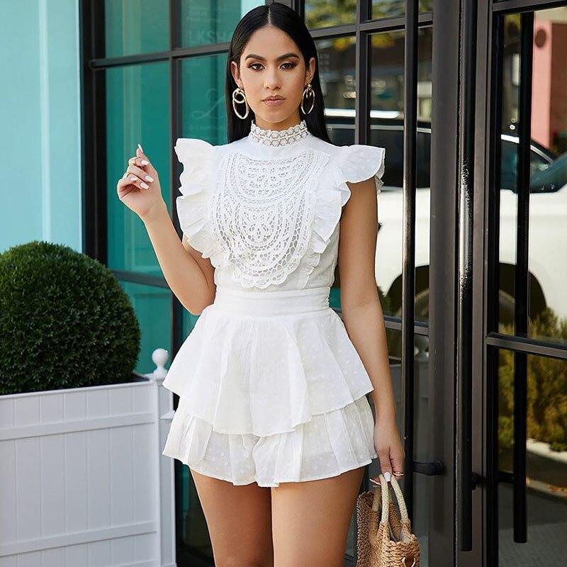 Fashion Lace Elegant Jumpsuit Women Romper Dot Floral Ruffles Culotte Playsuit Shorts Ladies Sweet Summer Bodysuit Ropa De Mujer