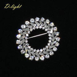 Luxury Gift Zircon Circle Round Brooches Copper Men Women Suit Lapel Pin Office Jewelry Shining Female Party Banquet Accessory