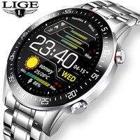 LIGE-reloj Digital con correa de acero para hombre, cronógrafo deportivo electrónico con pantalla LED, resistente al agua, Bluetooth y caja, nuevo