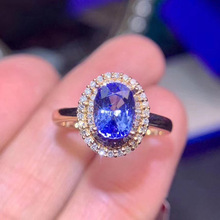 USTAR Blue Cubic Zirconia women rings for wedding engagement