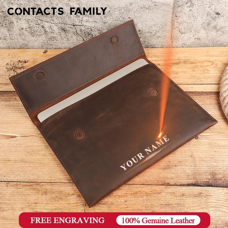 Contatos família saco do portátil luva caso para macbook pro 13.3 polegada de couro genuíno notebook portátil carry sleeve para macbook ar 13