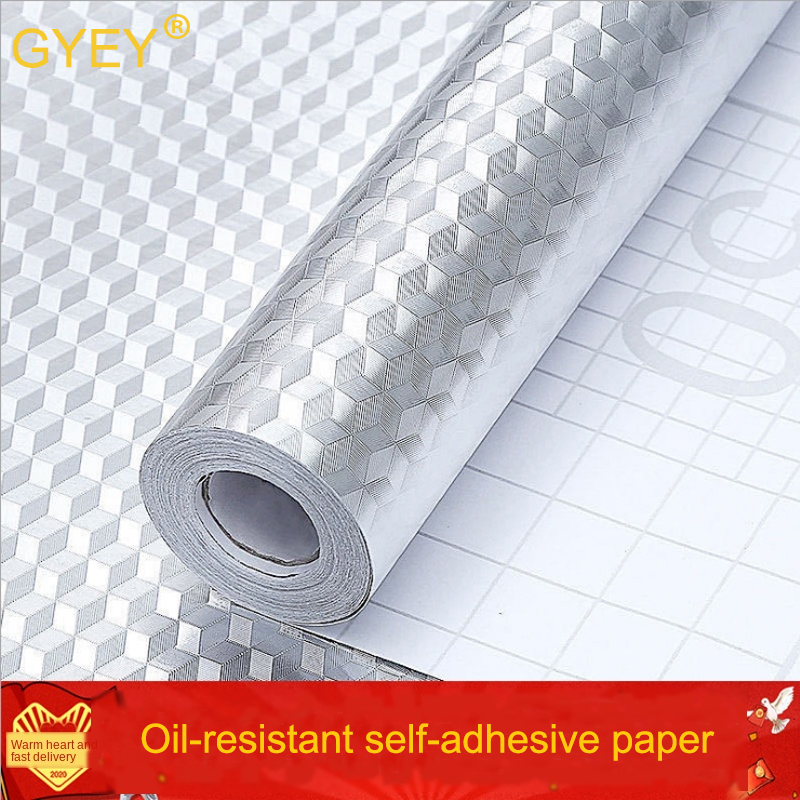 Kitchen Oil Proof Stickers High Temperature Resistant Aluminum Foil Oil-Absorbing Paper Refurbished Stickers Self-adhesive