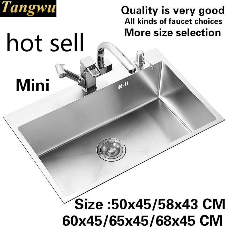 Free Shipping Household Standard Kitchen Manual Sink Single Trough 304 Stainless Steel Hot Sell 50x45/58x43/60x45/65x45/68x45 CM
