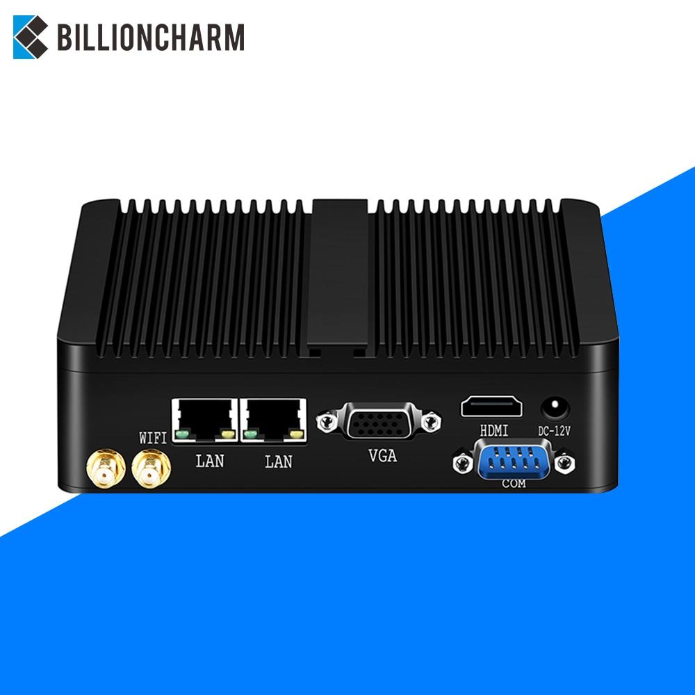 Fanless Mini PC Intel Celeron J1900 Windows 10 7 Linux WiFi 2*Gigabit Ethernet 2*RS232 DDR 3 Industrial Pfsense Router Computer