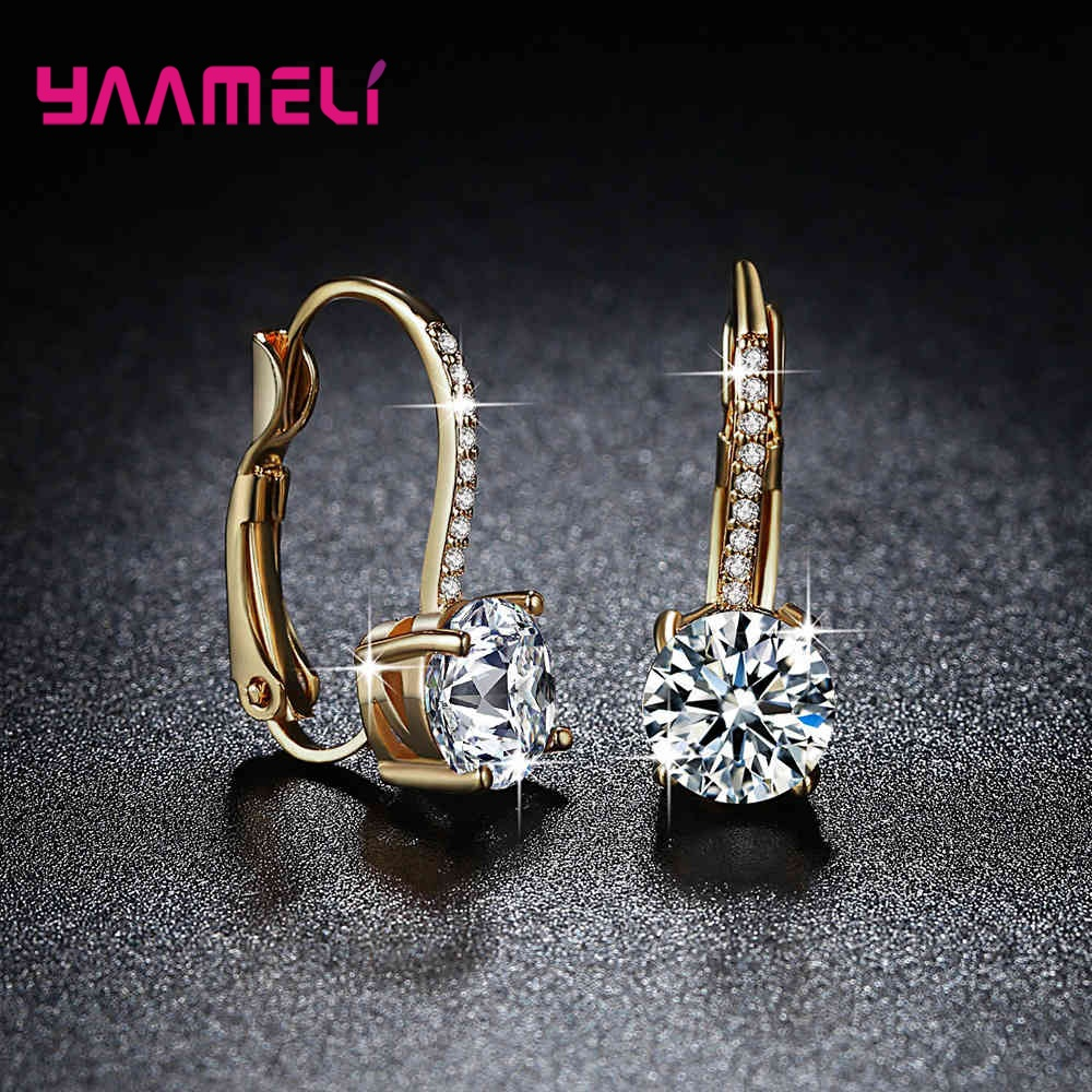 Exquisite Bright Crystal Gold Color 925 Sterling Silver Earrings Fashion CZ Rhinestone Jewelry For Women Wholesale Brincos