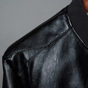 Image 3 - Chaqueta de cuero para hombre, abrigo con cuello de soporte, primavera y otoño, informal, ajustada, gran cremallera de PU, 8XL