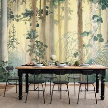 CJSIR papel pintado personalizado Mural pintado a mano bosque flor pintura al óleo sala de estar mesita de noche fondo de pared 3d papel tapiz