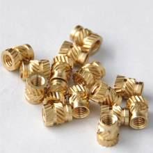 100pcs m3 thread serrilhado bronze rosqueado calor conjunto de inserção resistente ao calor embedment porca para impressora 3d (dourado)
