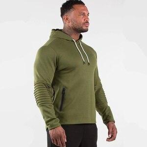 Image 3 - Armée vert décontracté sweat à capuche pour homme coton sweat gymnases Fitness entraînement pull printemps mâle vêtements de sport à capuche hauts marque vêtements