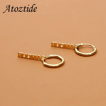 Atoztide Customized Name Hoop Earring For Women Stainless Steel Personalize Gold Nameplate Buckle Jewelry Accessaries