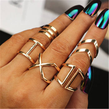 5Pcs/Set Gold Colour Rings Set For Women Geometric Irregular Ring Set Lady Charm Midi Rings Female Fashion Jewelry Wedding Gifts