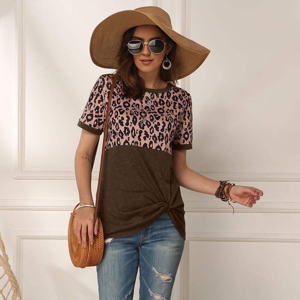 Summer Sexy Leopard Splice Printed T-shirt Tops Women O Neck Short Sleeve Tee Shirt Summer Ladies Letter Print T Shirt Tops