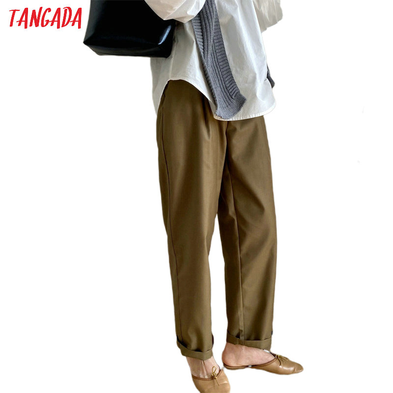 Tangada Fashion Women Solid Pants Trousers With Belt Pockets Buttons 2020 New Office Lady Pants High Quality ATC11