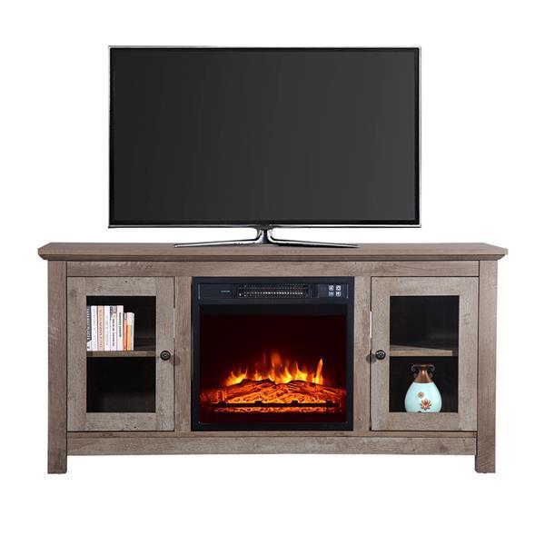 51 inch Log Cyan Fireplace TV Cabinet 1