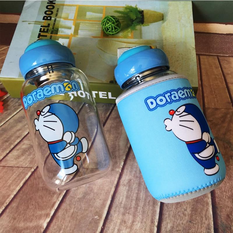 600ML Cute kawaii Water Bottle Glass Japanese Doraemon Drink Bottle For Tea And Herbalife Children Flask