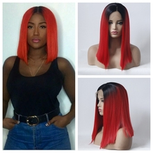 цена на MHAZEL Bob Lace Front Wigs High Temperature Heat Resistant Fiber Hair Synthetic Wig Straight Bob Lace Front Wigs For Black Women