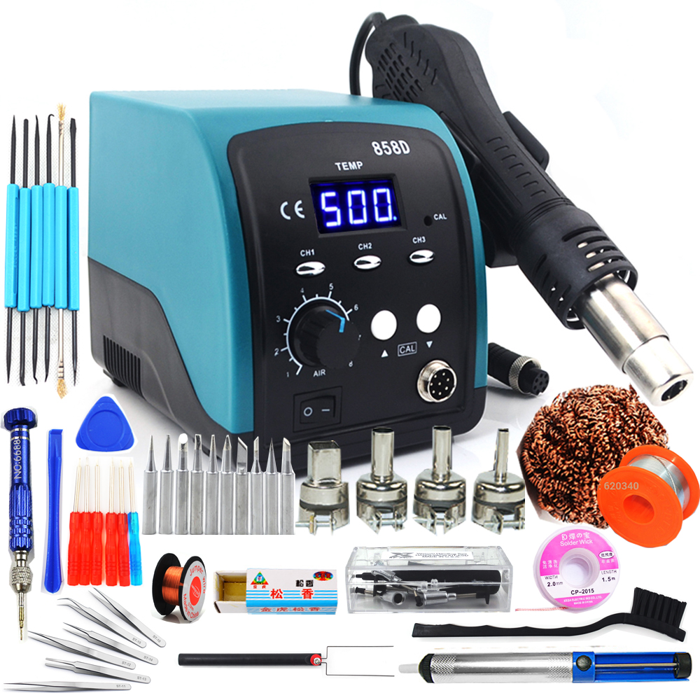 750W 858D Hot Air Gun LED Digital BGA Rework Lead-free Soldering Station SMT Desoldering Station 220V / 110V Temperature Storage