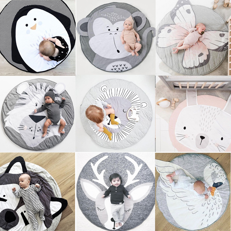18 Styles Animal Series Round Carpet Mat Nordic Style Pink White Rabbit Cotton Baby Play Mat Children Home Room Decoration