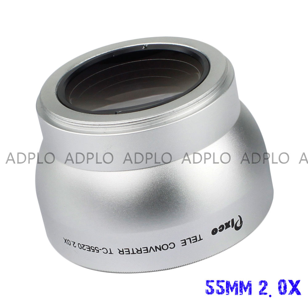 Pixco 55MM 2.0X rosca lente Ampliação Teleconverter