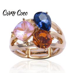Cring Coco 2020 Fashion Women's Crystal Rings High Quality Alloy Geometric Crystal Gold Color Jewelry Woman Ring Accessories