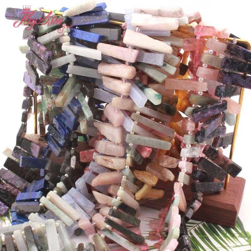 """5x10-7x33mm Charoite опал, кварц, Агатовая палочка рыхлый натуральный камень бусины для DIY для изготовления украшений ожерелья Браслет серьги 15"""""""