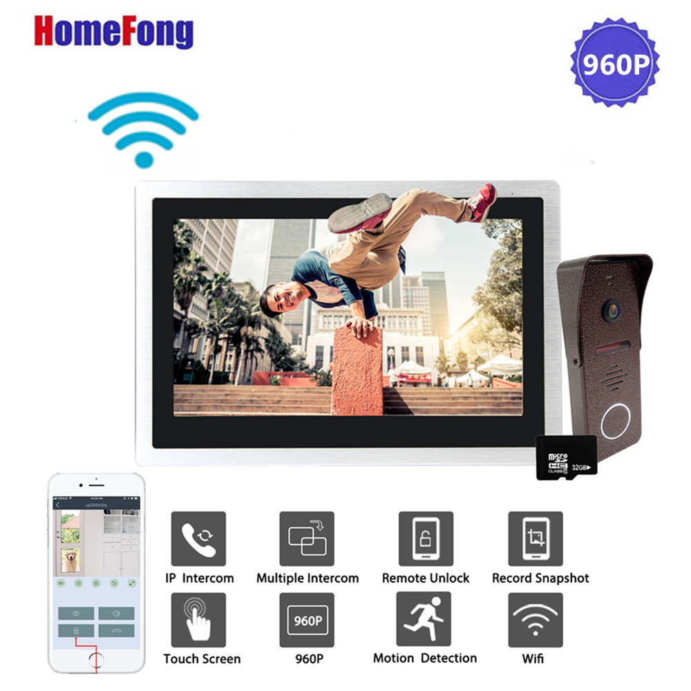 Homefong 10 Inch Wifi Wireless Video Door Phone Doorbell Smart Video Intercom Door Bell Alarm 960P Metal Case Unlock Record