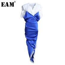 [EAM] femmes bleu irrégulière fendu Joint Temparment robe nouveau col en v manches courtes coupe ample mode marée printemps été 2021 1U315