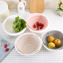 Double Drain Vegetables Fruit Basket Multi-function 2 Layers Drip Dry Storage Strainer Plastic Noodles Kitchen