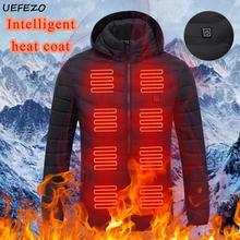 UEFEZO mężczyźni zimowe ciepłe kurtki grzewcze USB płaszcze inteligentny termostat stałe z kapturem podgrzewane parki wodoodporne ciepłe kurtki na zewnątrz tanie tanio CN (pochodzenie) COTTON Poliester REGULAR STANDARD men padded parka Suknem zipper NONE Poliester bawełna Kieszenie 800g