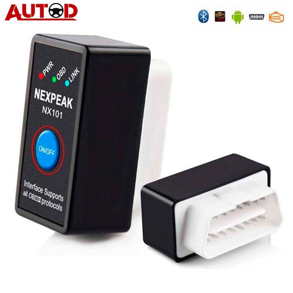NEXPEAK NX101 Elm327 Bluetooth V1.5 lector de código del motor Mini OBD2 escáner herramienta de diagnóstico del coche OBD 2 escáner automático Coche Mini portátil ELM327 V2.1 OBD2 II Bluetooth diagnóstico coche Auto interfaz escáner azul Premium ABS herramienta de diagnóstico
