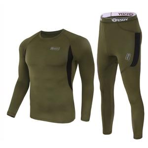 Image 4 - ESDY مجموعة ملابس داخلية شتوية حرارية ، بدلة رياضية سريعة الجفاف ، تي شيرت طويل مسامي ، ضيق ، سروال سترة دراجة نارية