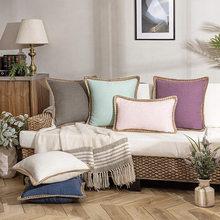 1 pçs linho capa de almofada do sofá almofadas decorativas lance fronha macio cores sólidas luxo decoração para casa sala estar sofá assento