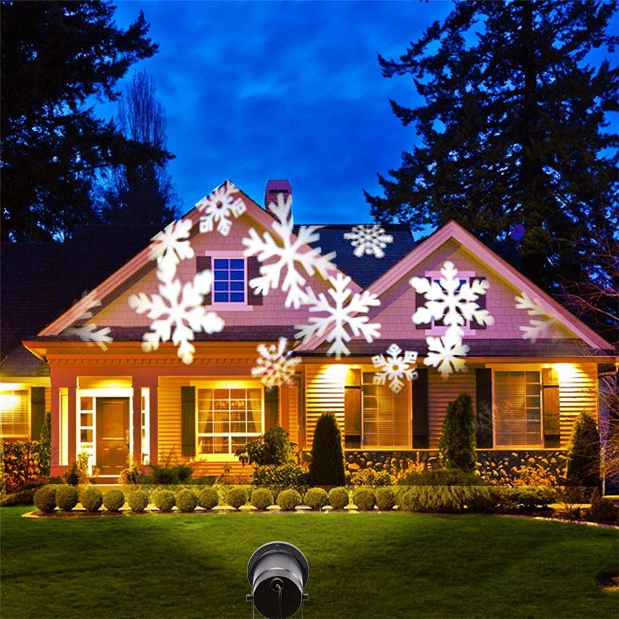 Christmas Lights LED Snowflake Projector Outdoor Waterproof Disco Lamp LED Stage Light Home Garden Party Decoration EU Plug #