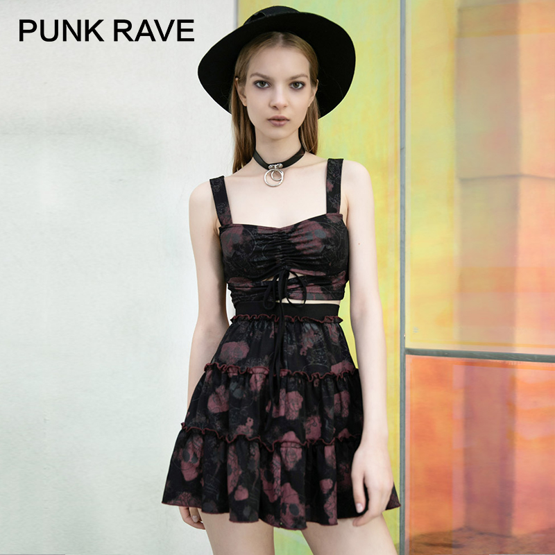PUNK RAVE Girl's Gothic Rose&Skull Printed Ruched Sexy Crop Tops Punk Vest&Skirt Club Women Sets Streetswear