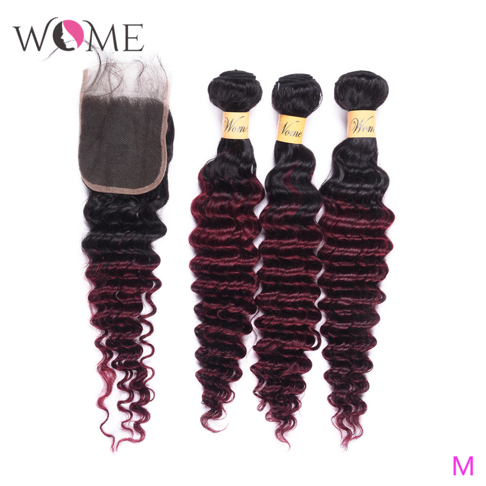 Wome T1B/99J Peruvian Deep Wave Bundles With Closure Red Wine Color Human Hair Curly 4 Bundles With Lace Closure Free Part