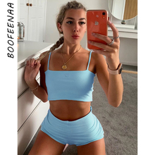 BOOFEENAA Cute Sexy 2 Piece Sets Womens Summer Outfits Crop Top