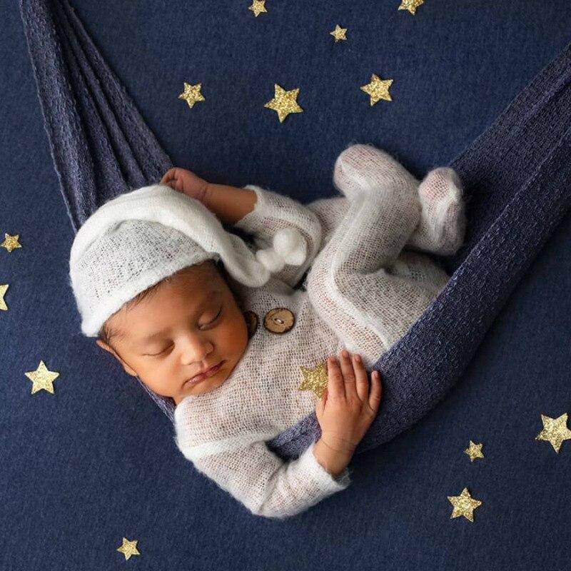 Newborn Photography Clothing Mohair Infant Knot Hat+Jumpsuit 2Pcs/Set Baby Photo Props Accessories Studio Shooting Clothes