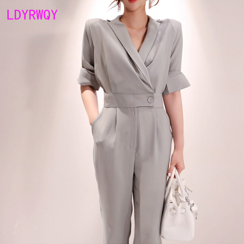 2020 Korean Slim Fit Waist Slim Sleeve Jumpsuit Office Lady  Broadcloth  Button  Solid Rompers Regular