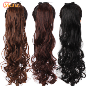 MEIFAN Long Wavy Curly Synthetic Ponytail Hairpiece Wrap on Hair Tail Clip in Pony Tail Extensions Brown Black Natural Fake Hair
