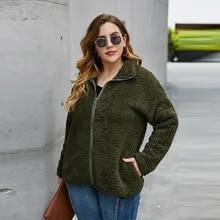 Coat Jacket Long-Sleeve Plus-Size Winter Thick Zipper Teddy Curvy Warm