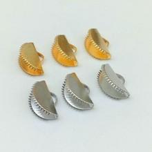 100 pces 10/13/15/20mm meia fita redonda frisos prata ouro cabo termina cabo tampa ponta prendedores fecho para joias fazendo descobertas diy