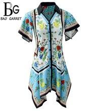 Baogarret New Summer Vintage Printed Mini Dress Butterfly Sleeve Button Loose Female Stylish Retro Asymmetrical Dresses
