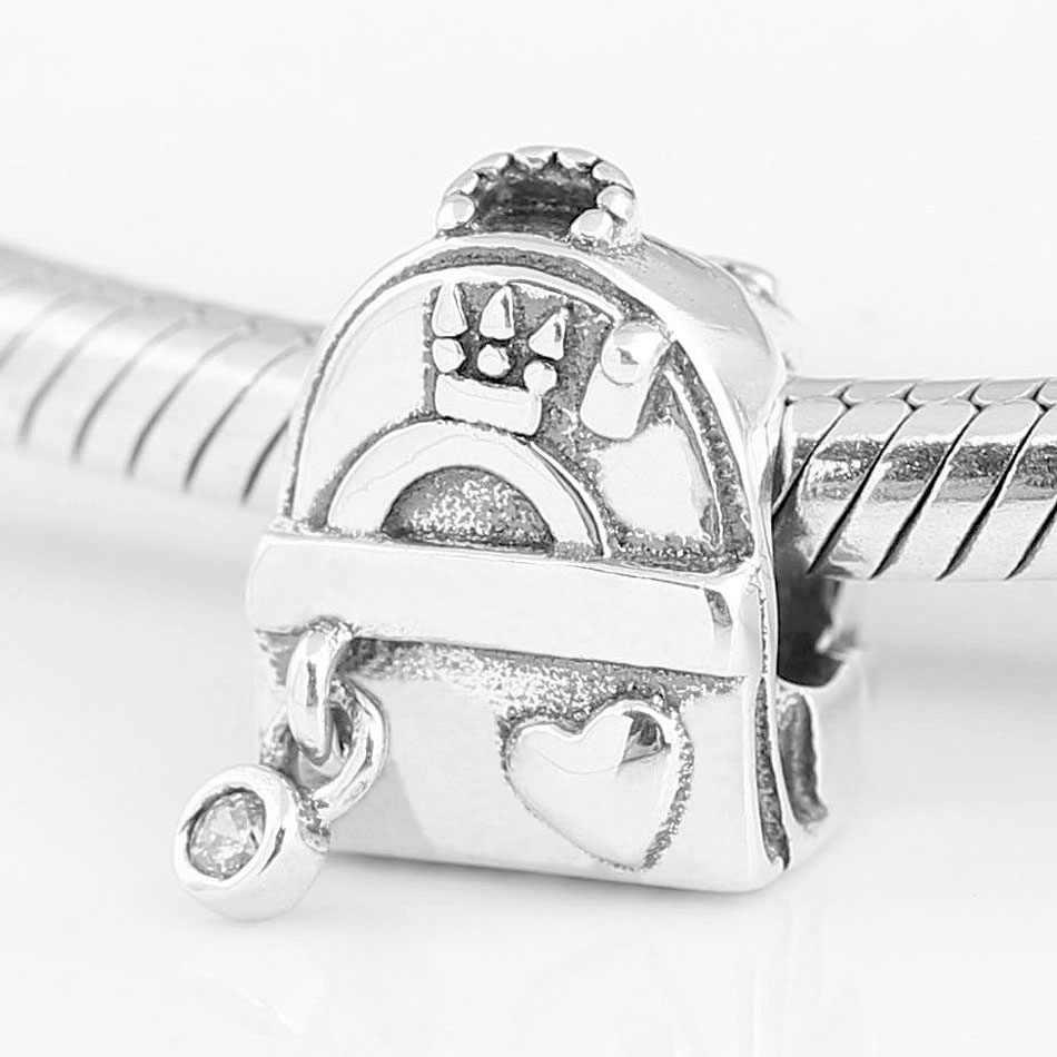 Oryginalna torba przygodowa koraliki z Logo i koraliki serce Fit 925 Sterling Silver Charm bransoletka pandora bransoletka biżuteria zrób to sam