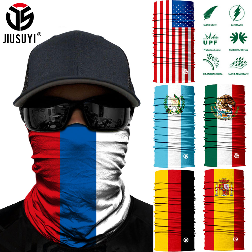 3D Magic Scarf USA National Flag Spain Russia Neck Gaiter Summer Tube Tubular Pipe Face Mask Headband Bandana Scarves Men Women